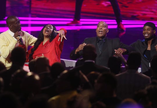Whodini get out of their seats to help finish performing a song at the Black Music Honors at TPAC Thursday August 16, 2018.