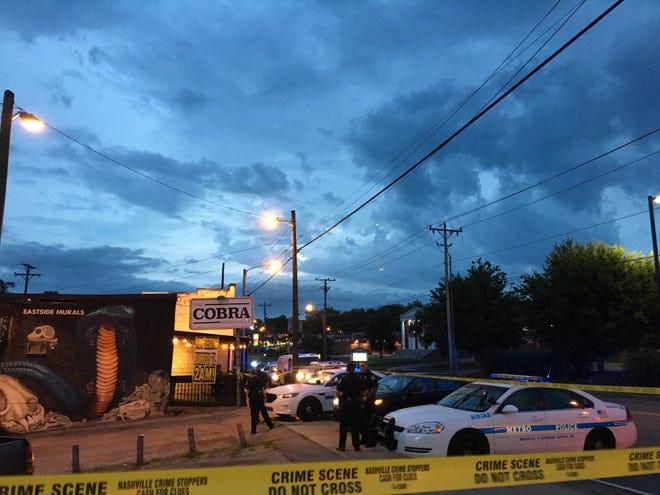 Nashville investigate a shooting outside The Cobra bar in East Nashville early Friday Morning Aug. 17, 2018.