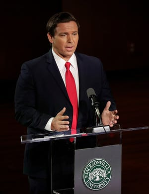 Republican gubernatorial candidate Ron DeSantis speaks during a debate Wednesday, Aug. 8, 2018, in Jacksonville.