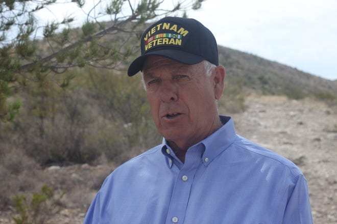Gubernatorial candidate and U.S. Sen. Steve Pearce talks tourism during an event at the Guadalupe Ridge Trail, Aug. 16, 2018 at Carlsbad Caverns National Park.