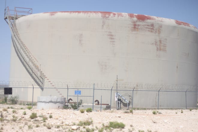 A tank that holds about one million gallons of drinking water for use by Carlsbad Residents, Aug. 1, north of Carlsbad.