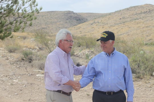 Carlsbad Chamber of Commerce CEO Robert Defer (left) meets with Congressman Steve Pearce at the start of the Guadalupe Ridge Trail, Aug. 16, 2018 at Carlsbad Caverns National Park.