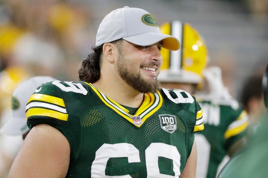 Green Bay Packers offensive tackle David Bakhtiari (69) during an NFL preseason game at Lambeau Field on Thursday, August 16, 2018 in Green Bay, Wis.