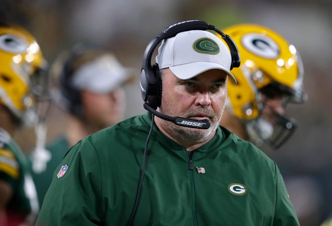Green Bay Packers coach Mike McCarthy works the sidelines against the Pittsburgh Steelers during their football game Thursday, August 16, 2018, at Lambeau Field in Green Bay, Wis.