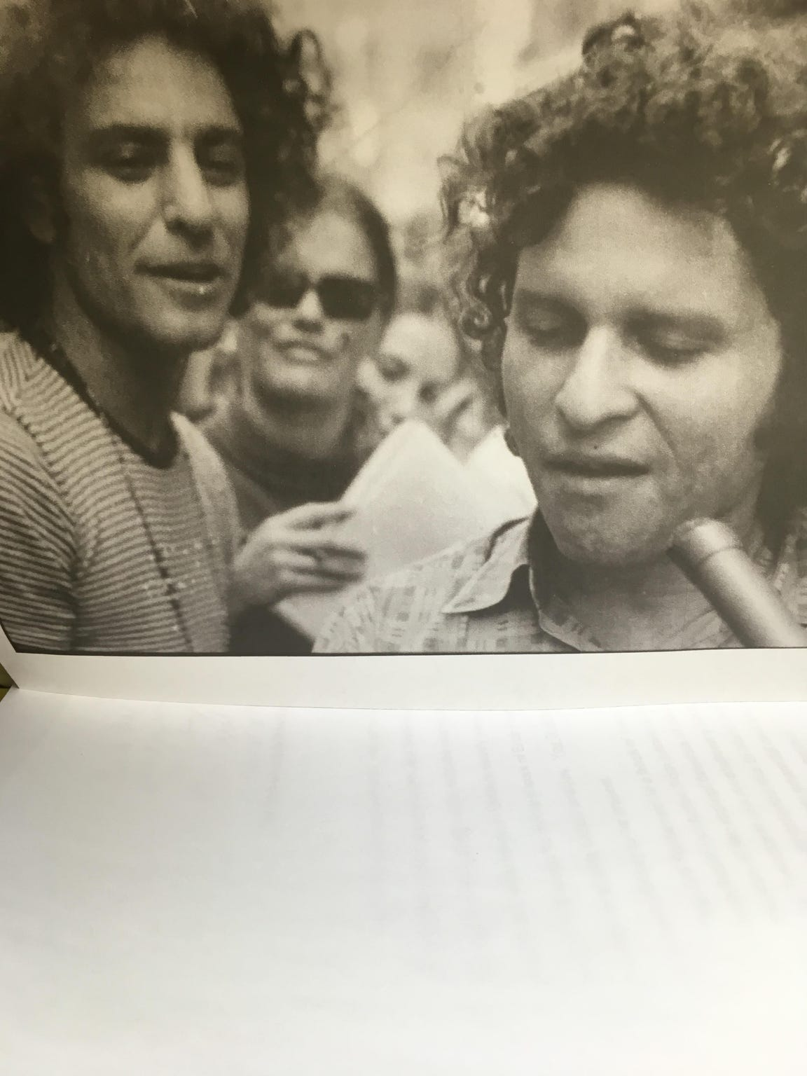 Abbie Hoffman (left) and Paul Krassner address a crowd at the 1968 Chicago Democratic National Convention.