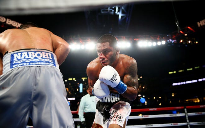 Andrew Cancio, right, during the NABF Featherweight fight at AT&T Stadium on September 17, 2016.