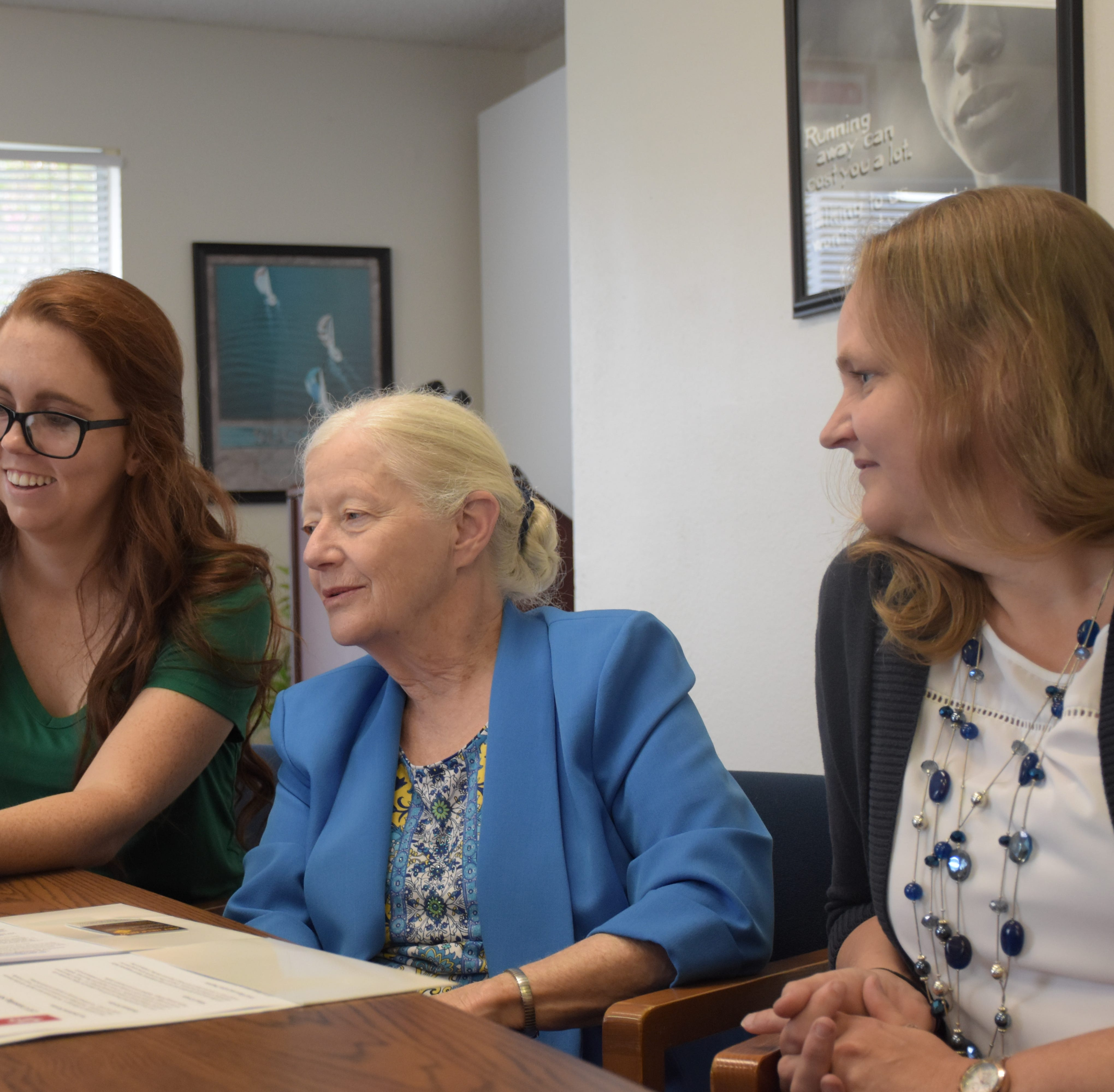 """""""Stop Now and Plan"""" coordinators Katie Swann, Beth Deck and Valeria Slevin speak about the new program during an interview Aug. 17, 2018."""