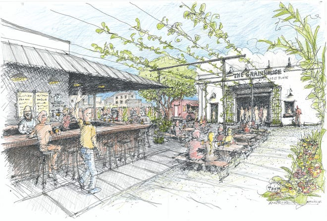 """A sketch of the Perfect Plain Brewery's expanded property depicts an outdoor beer garden, bar and event space known as """"The Grainhouse."""""""