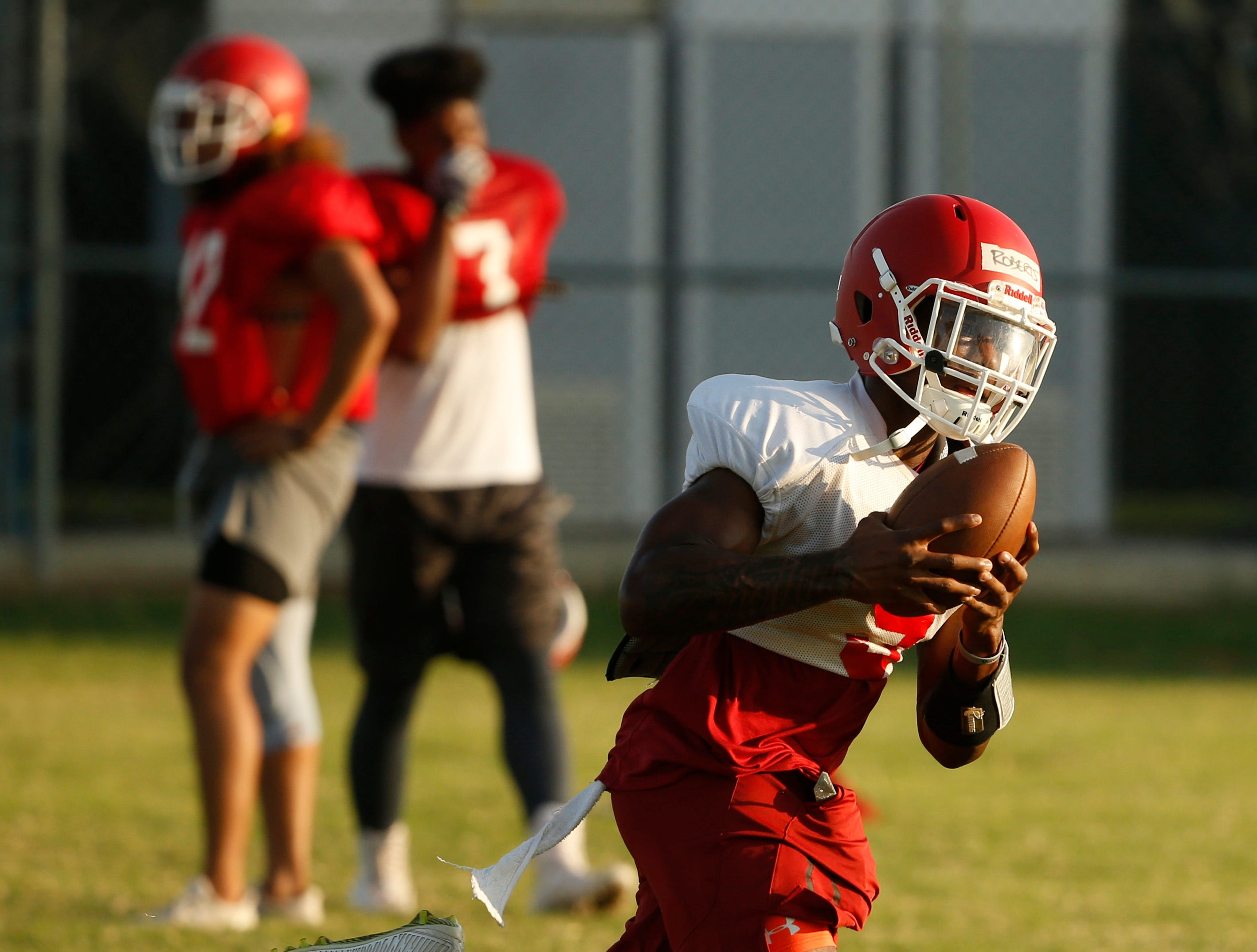 Player Braylon Roberts (9) catches a pass during practice at Mesa Community College in Mesa, Ariz. on Aug. 16, 2018.