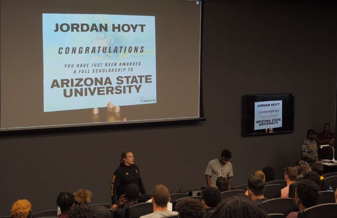 ASU's Jordan Hoyt was surprised with a full scholarship during a team meeting on Aug. 13, 2018.