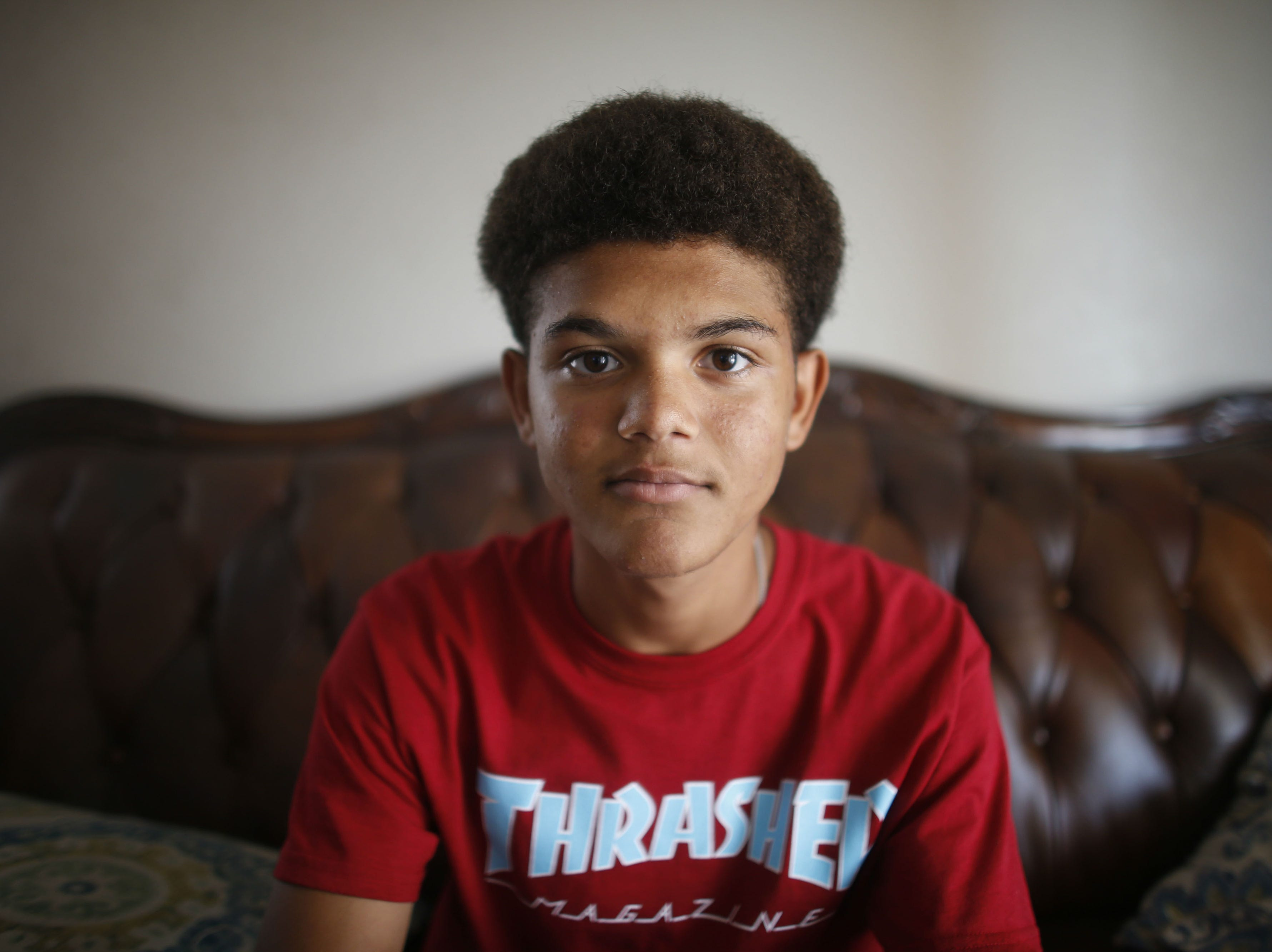 Josiah Wiedman poses for a portrait in his home in El Mirage on Aug. 16, 2018.