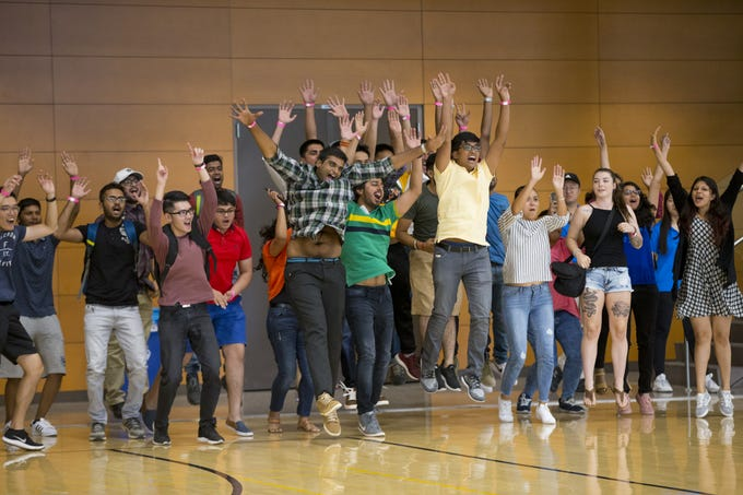 ASU international students participate in Play Fair at the Sun Devil Fitness Center in Tempe during their orientation on Aug. 8, 2018.