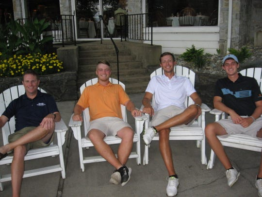 Defending champs, from left, Chris Gebhard and Noah Firestone relax with last year's finalists Drew Patterson and Chad Stine of Hummelstown. Patterson and Stine's round was halted after 14 holes Friday.