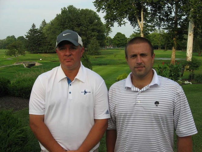 Jim Gardner, left, and Cody Kersey posted the second-lowest qualifying score of the day at the Sullivan on Thursday with a 66.