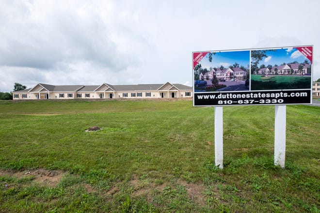 Construction is progressing on the Dutton Estates apartments in St. Clair Township. Developers expect to open one of their first buildings sometime this fall, and to have offices and a model ready in the coming weeks.