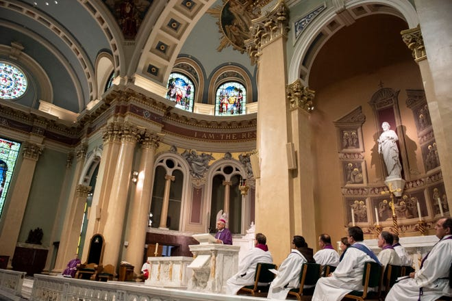 Bishop Ronald Gainer addresses the Pennsylvania grand jury report during a 'Mass of Forgiveness' at Saint Patrick Cathedral in Harrisburg on Aug. 17. The mass was part of the church's 'on-going need for repentance and healing,' according to the Diocese of Harrisburg.