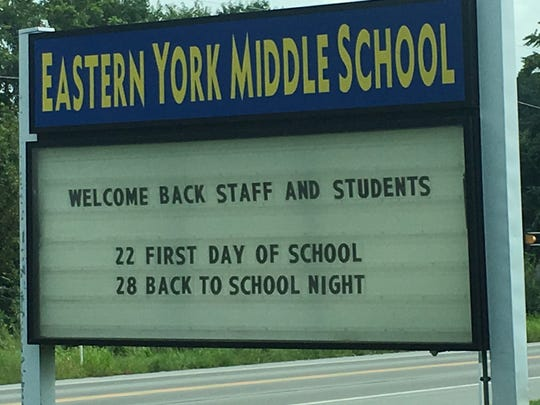 As of Friday, Aug. 17, the sign outside of Eastern York Middle School indicated school will start Aug. 22. However, the school district announced on Friday that students will now start Aug. 27 after mold was found at the middle school.