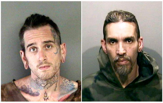 This combination of June 2017 file booking photos provided by the Alameda County Sheriff's Office shows Max Harris, left, and Derick Almena, at Santa Rita Jail in Alameda County, Calif. A Northern California district attorney has told a judge she will no longer consider plea deals for Harris and Almena, charged in a 2016 warehouse fire that killed 36 people attending an unlicensed concert.