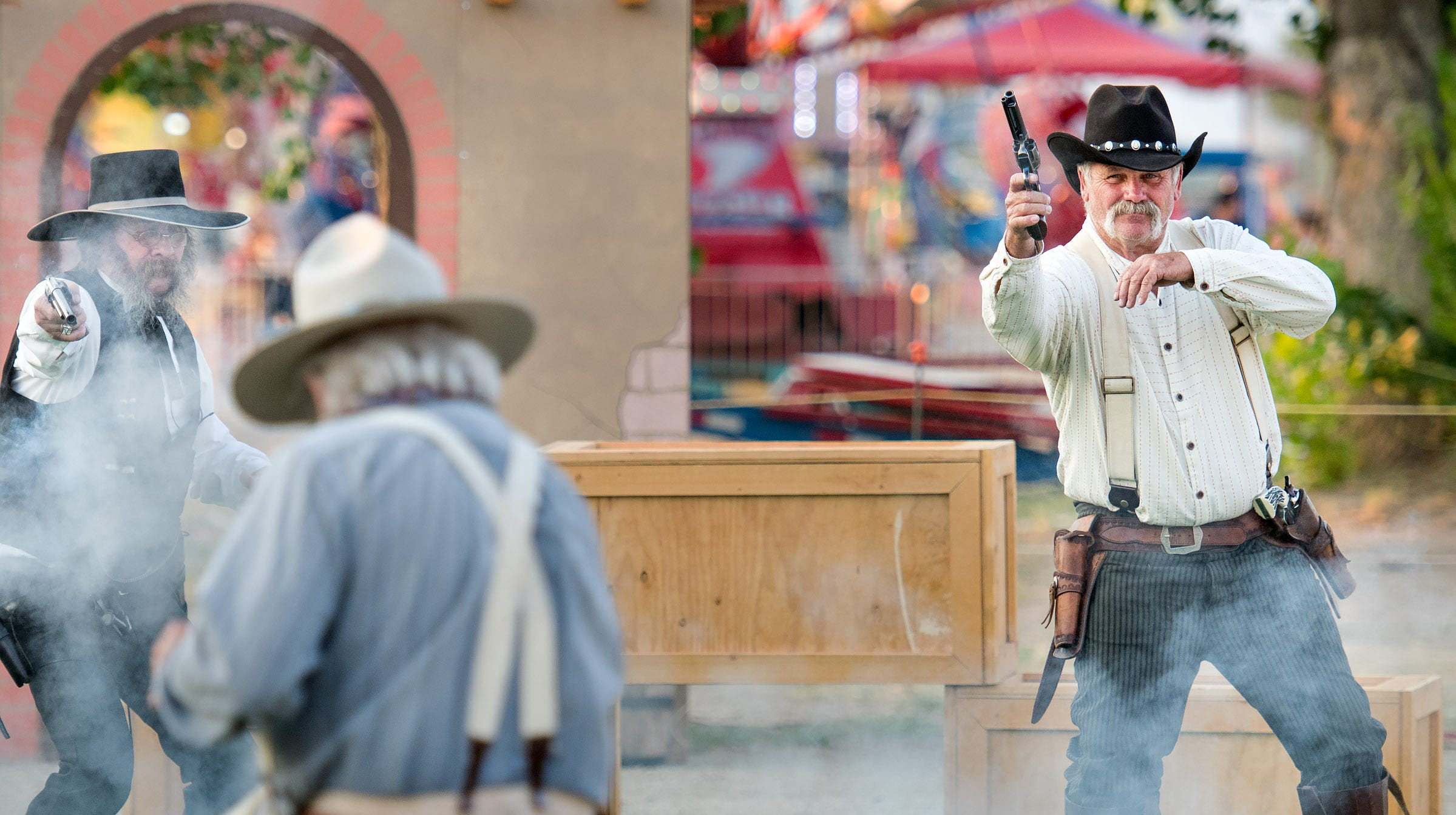 "Nevada Gunfighters perform a skit called ""Poker Game that Went Wrong."""