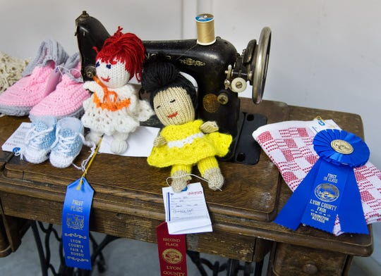 Crocheted items are displayed at the Lyon County Fair.