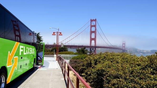 A FlixBus sits in San Francisco.