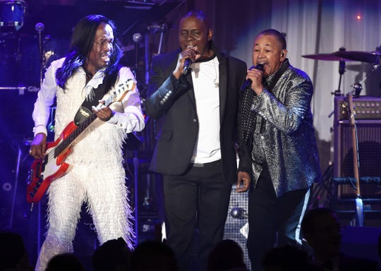 Verdine White, left, Philip Bailey and Ralph Johnson of Earth, Wind and Fire.