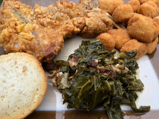This meal includes, from top left, a Southern fried pork chop meal with fried okra, collard greens and cornbread.