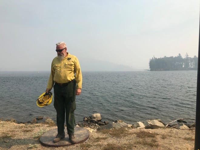 Chris Holbeck, leader of the Burned Area Emergency Response team for the Carr Fire, stands at Brandy Creek Marina at Whiskeytown National Recreation Area.