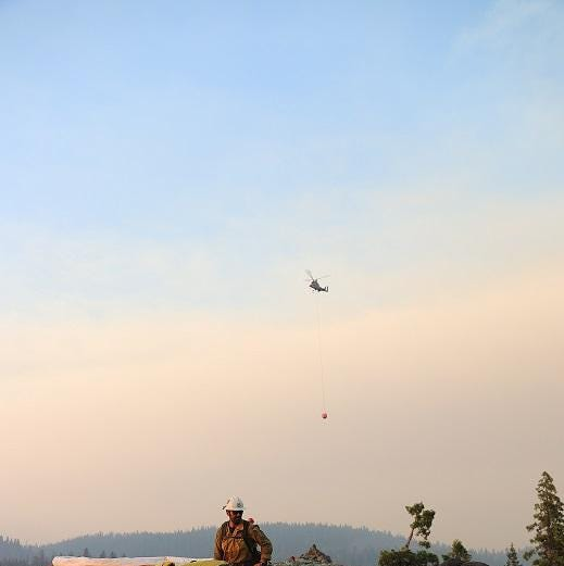 Water resources support fireline operations on the Natchez Fire.