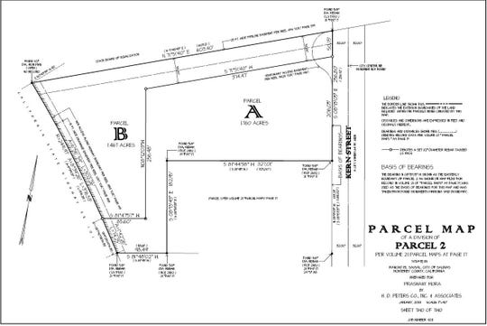 """A parcel map for the proposed 86-unit motel development behind the existing Holiday Inn Suites & Express on Kern Street. The new development would subdivide the parcel to create """"Parcel B"""" for the new motel space."""