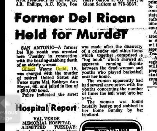 Gilbert Guild was arrested and later convicted of murder in the death of an elderly retired U.S. Air Force Nurse in 1974