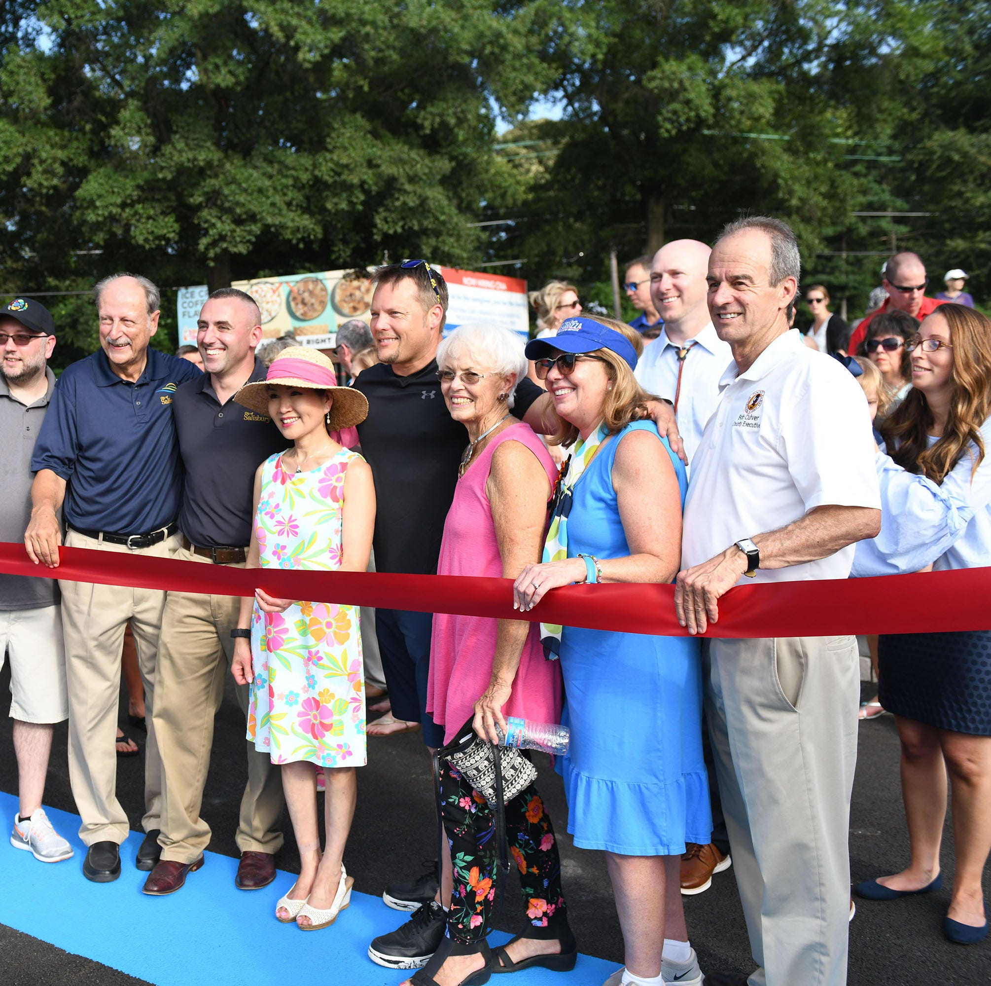 Maryland's First Lady Yumi Hogan and Mayor Jake Day joined the community for the ribbon cutting and celebration of the new Riverwalk Amphitheater on Friday, August 17, 2018.