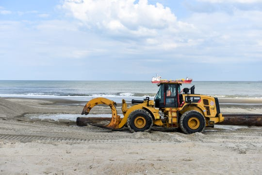 Beach replenishment work took place in Bethany Beach in late June.