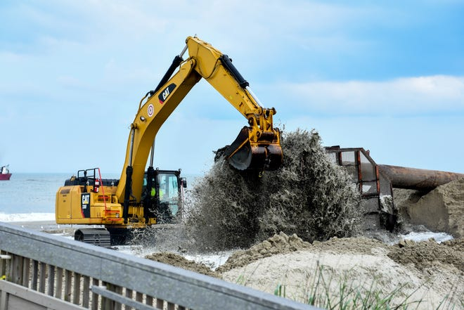 Beach replenishment work took place in Bethany Beach in late June
