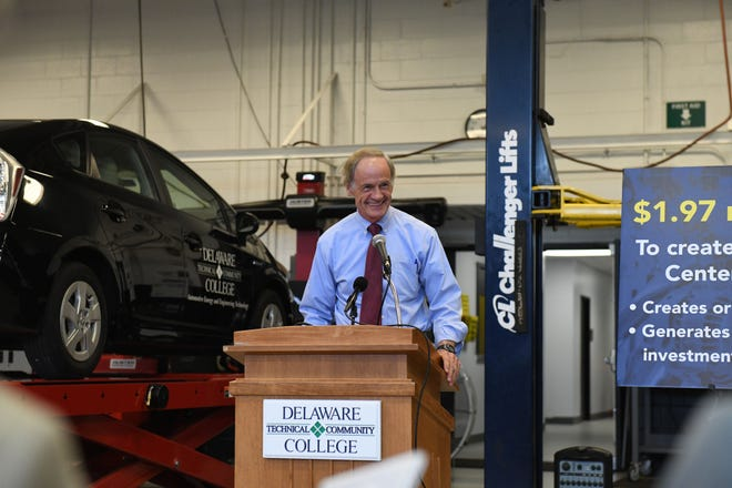 Sen. Tom Carper speaks during the announcement of a $1.97 million grant for an Automotive Center of Excellence at Delaware Technical Community College's Georgetown Campus on Friday, Aug. 17, 2018.