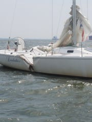 This sailboat was damaged in a collision on Friday, Aug. 17, off Thomas Point in Anne Arundel County.