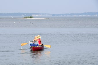 "Clean water advocates held the 4th annual ""Float for the Coast"" rally in Ocean City in Friday."