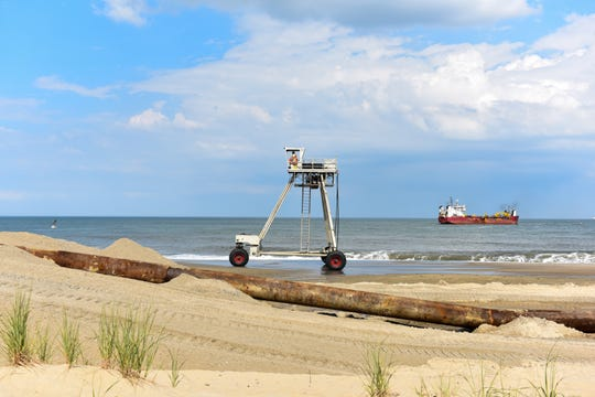 Bethany Beach hummed with construction in late June as beach replenishment was in full swing.