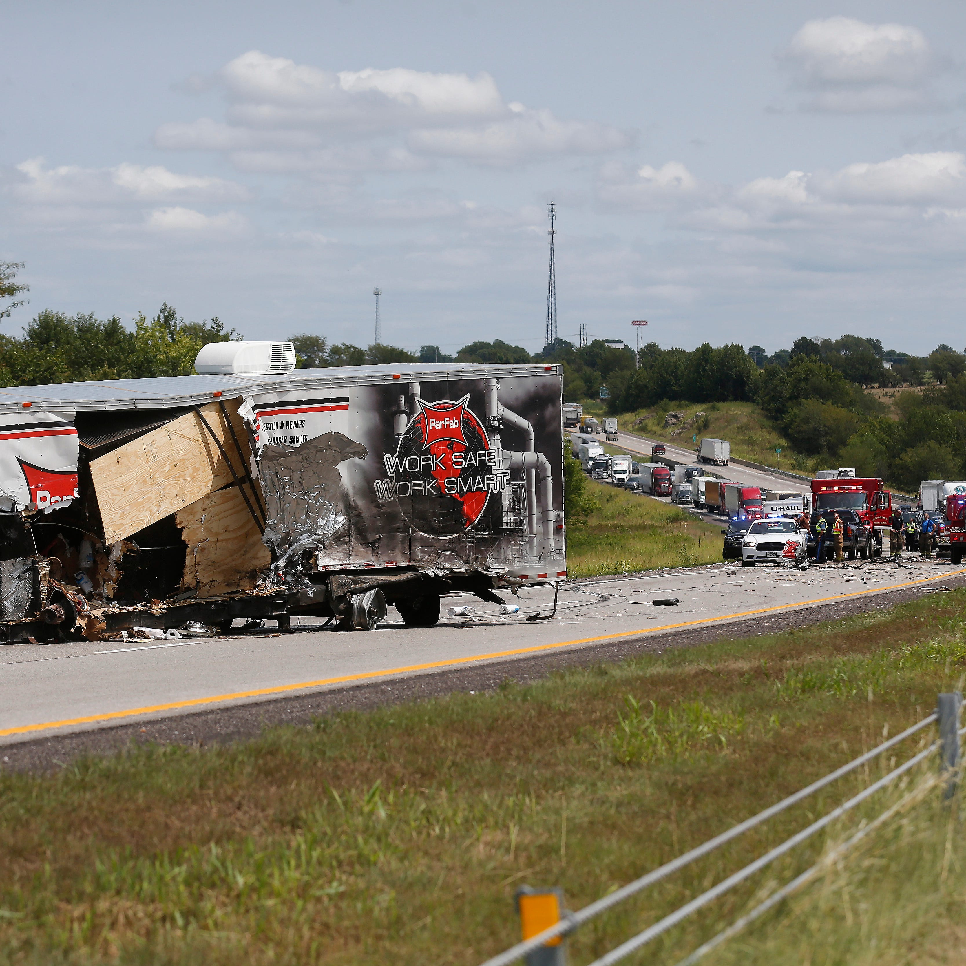 Interstate 44 westbound was shut down just west of Highway T after a crash Friday afternoon, August 17, 2018