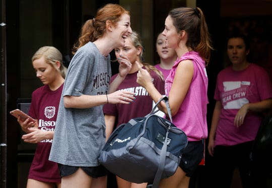 Students and parents unloaded cars, carried innumerable boxes, cloths and mirrors into the dorms at Missouri State University during move-in day on Friday, Aug. 17, 2018.