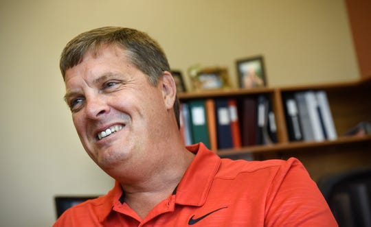 New Rocori school district superintendent Brad Kelvington talks about the upcoming school year Thursday, Aug. 16, during an interview in his office in Cold Spring.