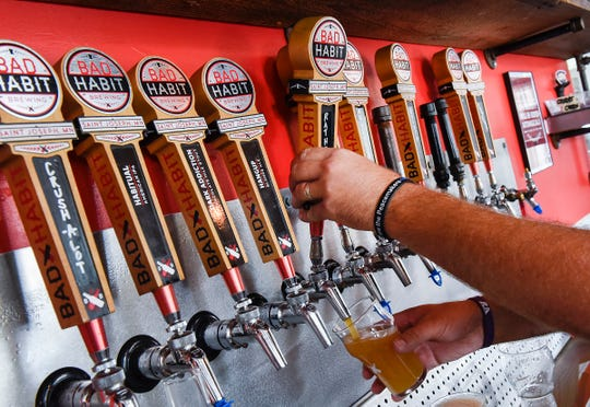 The beer taps at Bad Habit Brewing are shown Tuesday, Aug. 14, in St. Joseph.