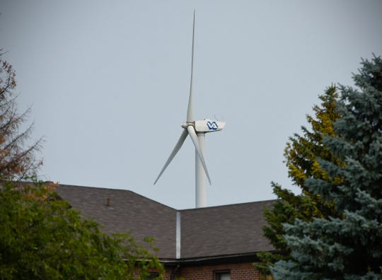 The wind turbine shown Friday, Aug. 17, at the St. Cloud VA Health Care System will be taken down in 2019.