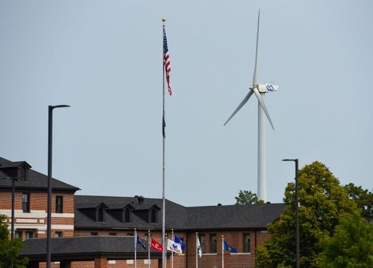 The wind turbine shown Friday, Aug. 17, at the St. Cloud VA Health Care System will be taken down in 2019. The 600-kilowatt turbine is about 250 feet tall at the highest point of its blade rotation.