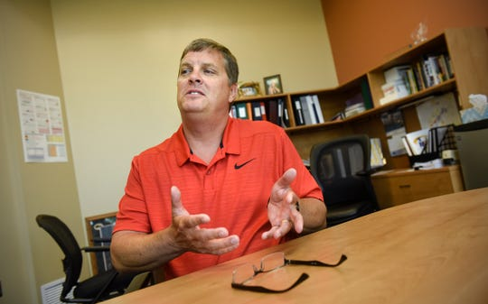 New Rocori school district superintendent Brad Kelvington talks about his experiences Thursday, Aug. 16, during an interview in his office in Cold Spring.