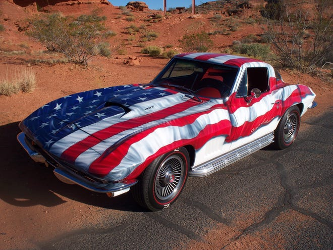 "Ron Gunderson calls his 1967 Corvette ""Spirit of America."""