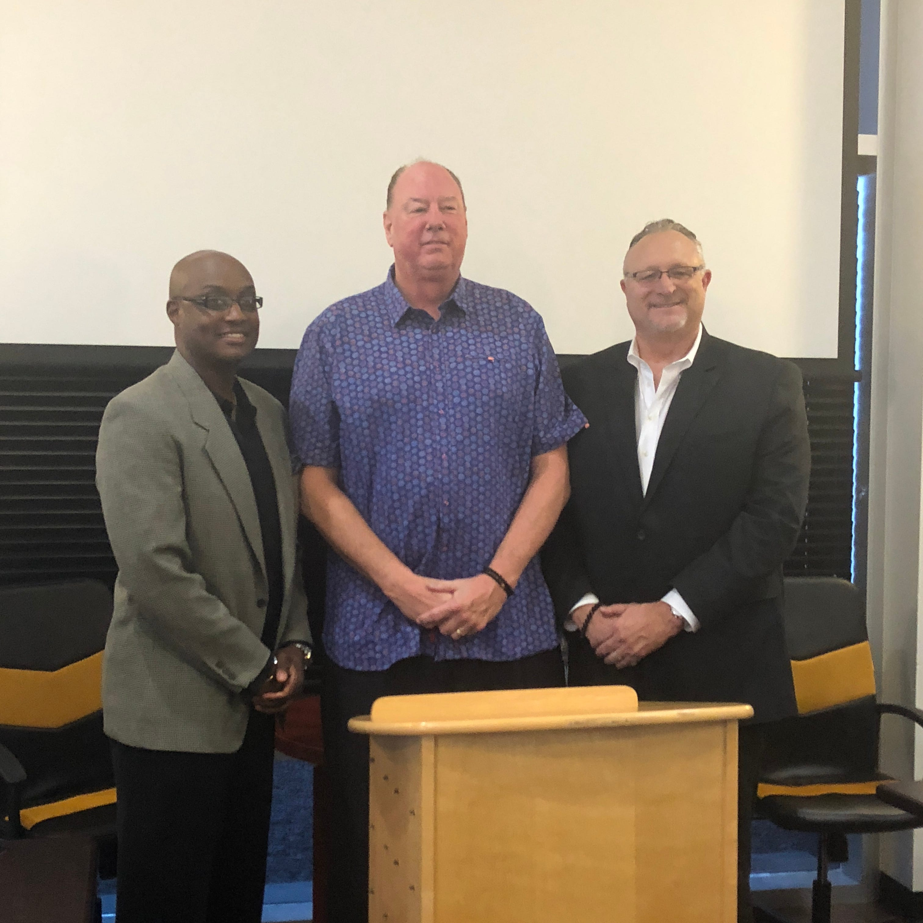 From left to right: Mesquite Desert Dogs head coach Carlnell Wiley, league commissioner Paul Mokeski and league president Dave Magley joined together to hold a press conference about organizational changes to the Desert Dogs franchise.
