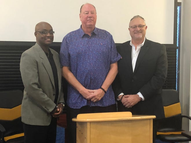 From left: Mesquite Desert Dogs head coach Carlnel Wiley, league commissioner Paul Mokeski and league president Dave Magley held a press conference Aug. 16, 2018, about organizational changes to the Desert Dogs franchise.