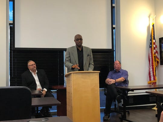 New Mesquite Desert Dogs head coach Carlnel Wiley addresses the media and public during a press conference on Thursday afternoon.