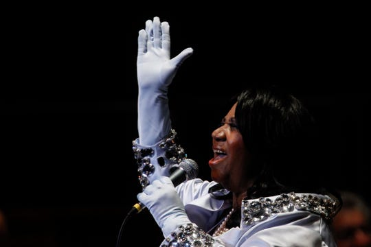 In this July 27, 2010 photo, Aretha Franklin performs at The Mann Center for the Performing Arts in Philadelphia.